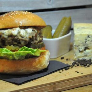 A Little Bit of Blue Burger from Filthy Macs - Sounds Fishy Fish Burger - Takeaway Burgers Near Me